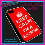 FITS IPHONE 4 / 4S PHONE KEEP CALM IM A  ELECTRICIAN PLASTIC COVER RED